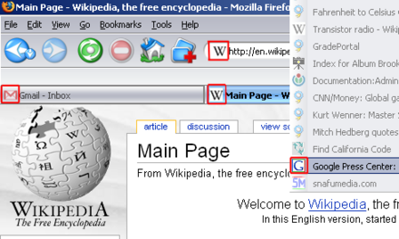 Screenshot of the Firefox web browser, with several Favicons highlighted