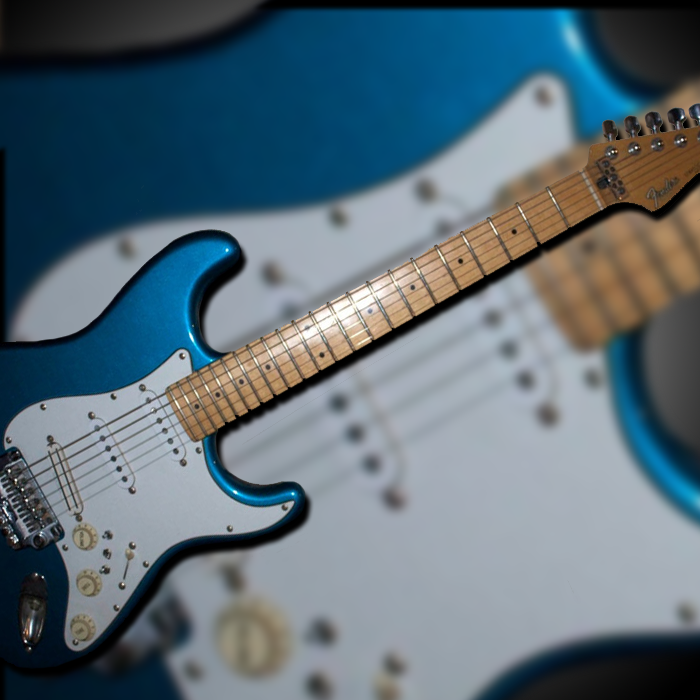 Photograph of an electric guitar superimposed on a blurred photograph of the same electric guitar, with a gradiated grey background