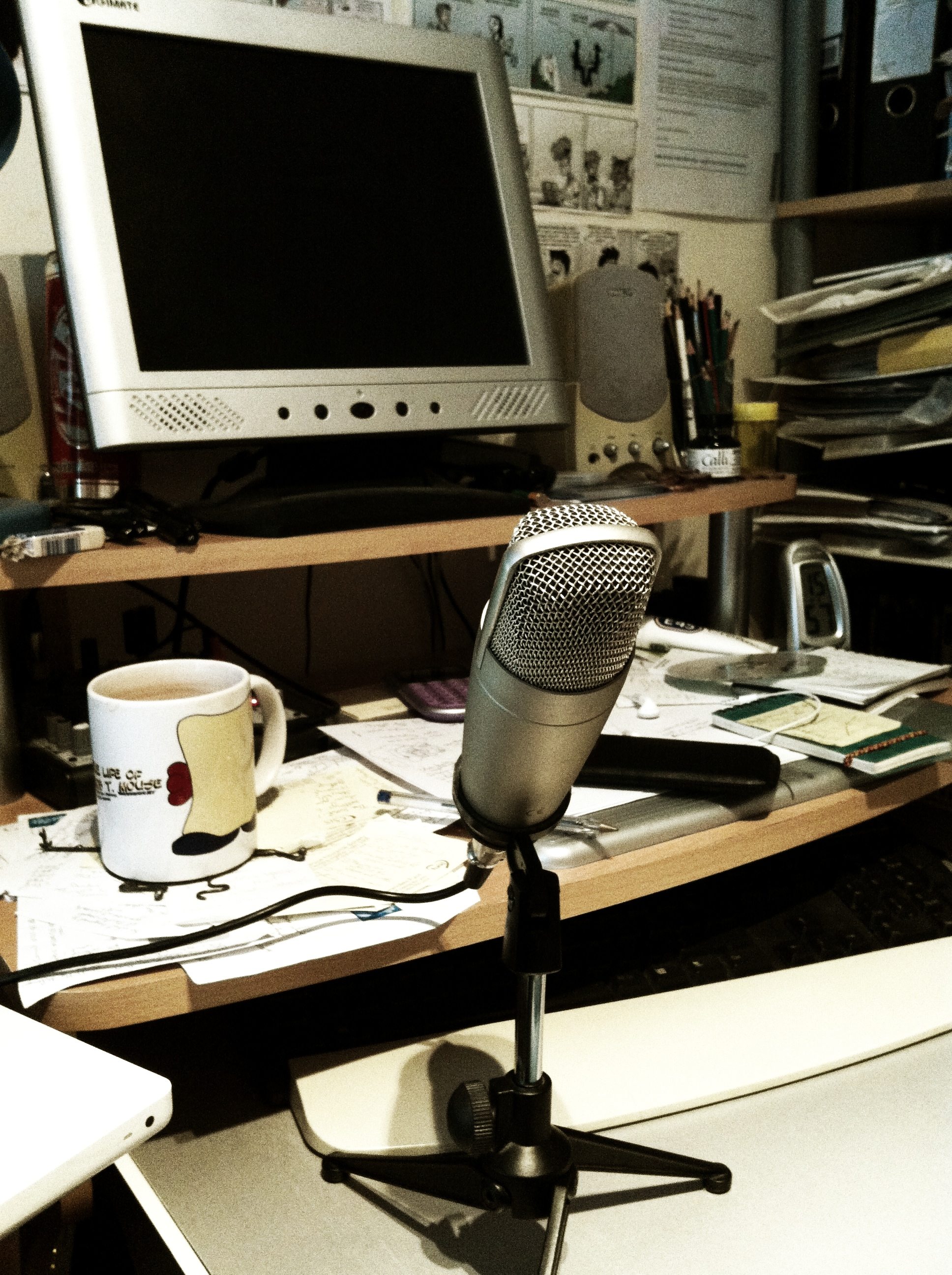 A broadcast quality microphone, in front of Arcadia, my desktop PC.