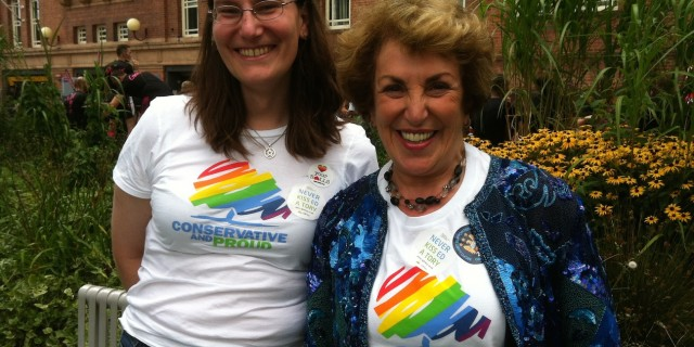 A quick photo with Edwina Currie after the parade at Manchester Pride.