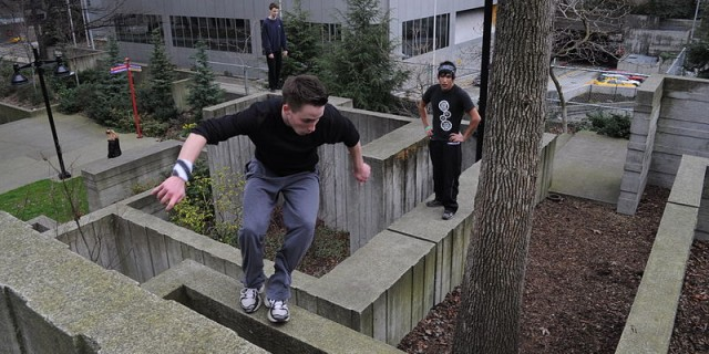 Practicing parkour in Freeway Park, Seattle, Washington. Photograph by Joe Mabel, used under GNU Free Documentation License.