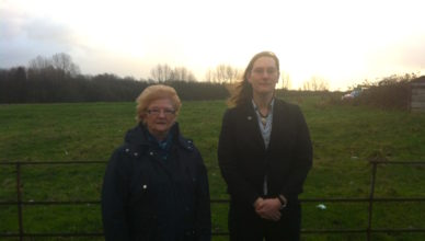 Cllrs Christine Wild and Zoë Kirk-Robinson stood beside Roscoe's Farm in Westhoughton
