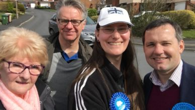 Cllrs Christine Wild, Martyn Cox and Zoë Kirk-Robinson with Chris Green MP.
